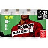 Brawny Tear-A-Square Paper Towels, Quarter Size Sheets, 16 Count of 128 Sheets Per Roll