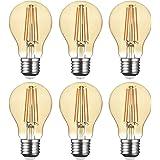 SD LUX LED Light Bulb Base Classic A Lamp E27 Amber Glass, 8 W 806 Lumen Filament Lamps, Replaces 75 W Filament Bulb, 2700 K