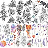 COKTAK 6 Pieces/Lot Large 3D Flower Rose Temporary Tattoos Stickers For Women Girls DOT Pattern Sexy Body Art Big Arm Tatoo L