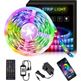 19.7ft/6m Bluetooth LED Strip Lights Control by App and Remote, Music Sync,Easy Installation, RGB Color Changing LED Light St
