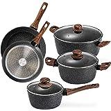Prikoi Nonstick Cookware Set, Aluminum Kitchen Pots and Pans Set, Stovetop,Induction & Dishwasher Safe, 8 Piece, Black