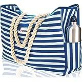 Beach Bag XXL. 100% Waterproof. L22 xH15 xW6 (56x38x15cm) w Rope Handles, Top Magnet Clasp, Outside Pockets. Blue Stripes Sho
