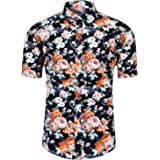 TUNEVUSE Mens Floral Print Short Sleeve Shirt Casual Flower Button Down Hawaiian Shirt Cotton