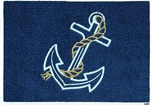 【洗える玄関マット】 Anchor 碇の刺繍がされた高級マリンマット 50x75cm【ラッピング不可】wash+dry(ウォッシュ アンド ドライ)