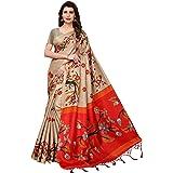CRAFTSTRIBE Traditional Bollywood Printed Khadi Silk Dress Party Wear Indian Ethnic Wedding Sari for Women's