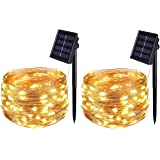 BOLWEO 2 Pack Solar Powered String Lights,Solar Fairy Lights,Warm White,16.4Ft 50LEDS,Waterproof Wire Lighting for Indoor Out