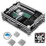 Smraza Case for Raspberry Pi 4 B, Case with Cooling Fan, Heatsinks for Raspberry Pi 4 Model B (RPI 4 Board Not Included) - Bl