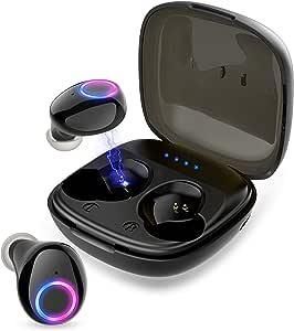 【令和モデル 】Bluetooth イヤホン HYH HAOYIHAO イヤレス イヤホン IPX5防水 Hi-Fi高音質 電量表示 最新bluetooth 5.0第2世代+EDR 完全ワイヤレス イヤホン ブルートゥース イヤホン 両耳 左右分離型 自動ON/OFF ボリューム調節可能 自動ペアリング 音量調節 両耳通話 Siri対応 PSE&技適認証済み Siri対応 iPhone/iPad/Android適用