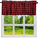 2 Pack Buffalo Check Plaid Cotton Window Valances Red and Black Farmhouse Design Window Treatment Lined Decor Curtains Rod Po