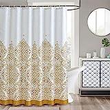 LanMeng Elegance Luxury Extra Long Fabric Shower Curtain for Bathroom, Classic Charm European Pattern, Gold, Waterproof Machi