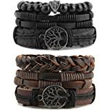 HZMAN Genuine Leather Tree of life Bracelets Men Women, Tiger Eye Natural Stone Lava Rock Beads Ethnic Tribal Elastic Bracele