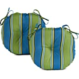 South Pine Porch AM5816S2-Cayman Cayman Stripe 15-inch Round Outdoor Bistro Chair Cushion, Set of 2