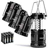 4 Pack LED Camping Lantern, Survival Kit for Hurricane, Emergency, Storm, Outages, Outdoor Portable Lantern, Black, Collapsib