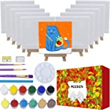 MEEDEN 43-Piece Acrylic Painting Set, 12Beech Wood Easels and 12Stretched Canvas, 12×16ML Acrylic Paint Set, 3Paintbrushes an