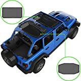 ALIEN SUNSHADE Jeep Wrangler JLU (2018-Current) 2 Piece Front and Rear Sun Shade Mesh Top Cover (Black) – 10 Year Warranty –