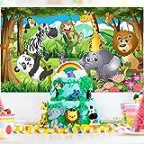Blulu Safari Animals Decorations, Extra Large Fabric Jungle Safari Backdrop Banner for Jungle Theme Party Supplies, Jungle Sa
