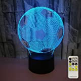 Aidool Soccer 3D LED Night Light Touch & Remote Control Table Desk Optical Illusion Bedside Lamp 7 Colors Changing for Boys G