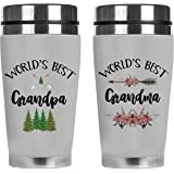 Mugzie Grandparents Coffee Mug Gift Set - Worlds Best Grandpa and Grandma - Spill-Proof Stainless Steel Travel Tumbler White