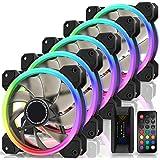 EZDIY-FAB New Dual Ring 120mm RGB LED Case Fans, 5V Motherboard Sync, Speed Adjustable, RGB Sync Fan with Fan Hub X and Remot