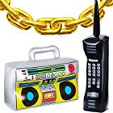 22 Pieces Inflatable Radio Boombox Inflatable Mobile Phone and 16 Inch Gold Inflatable Foil Chain Balloons 80s 90s Party Deco