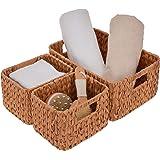 StorageWorks Set of 3 Hand Woven Resin Storage Basket, Wicker Shelf Storage Tote Basket, Plastic Resin, Iron Wire, Walnut, La
