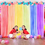 Rainbow Backdrop Curtains for Party Baby Shower,6 Piece Tulle Window Sheer Panel Curtains for Bedroom/Classroom/Kids Room(Blu