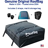 RoofBag Rooftop Cargo Carrier | Waterproof | Made in USA | 1 Year Warranty | Fits All Cars: with Side Rails, Cross Bars or No