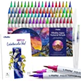 Watercolor Brush Markers Pens Set, Ohuhu 72 Colors Water-Based Paint Marker with 12-Sheet Watercolor Pad & A Blending Aqua Br
