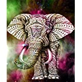EOBROMD 5D Diamond Painting Kits, DIY Rhinestone Embroidery Cross Stitch Arts Craft for Home Wall Decor Gold Elephant 12x16in