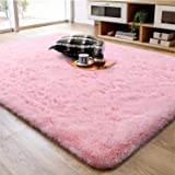 Soft Fluffy Area Rug for Living Room Bedroom, 4x6 Pink Plush Shag Rugs with Non-Slip Backing, Fuzzy Shaggy Accent Carpets for