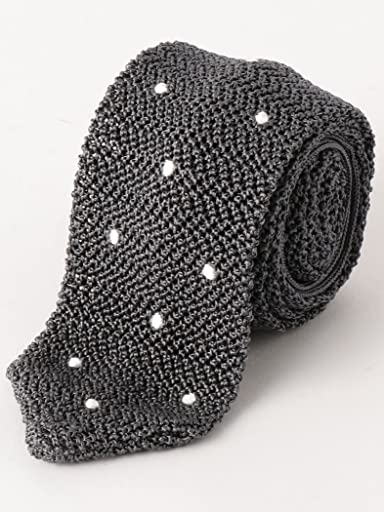 Dot Silk Knit Tie 3134-343-2388: Dark Grey