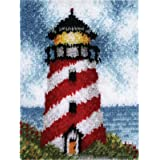"""LUBOTS Latch Hook Kits Rug Making Kits DIY for Kids/Adults with Printed Canvas Pattern 21"""" X 15"""" Lighthouse 179"""