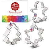Ann Clark Cookie Cutters 3-Piece Christmas and Holiday Cookie Cutter Set with Recipe Booklet, Snowflake, Gingerbread Man and