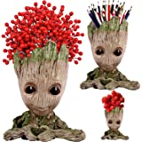 AdongTop Flowerpot Tree-Pen Pot Tree Man with depth is 3.5in,for Succulent Planter, Cute Green Plants Flower Pot, with Hole P