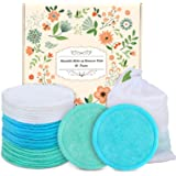 Reusable Cotton Rounds - 18 Pack 100% Organic Reusable Cotton Pads With Washable Laundry Bag Makeup Remover Pads for Toner Ec