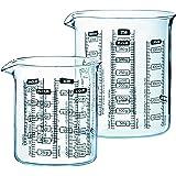 Pyrex Measuring Glass Beaker Set (2-Piece Set), Multiple Metric Measurement Text for Liquids and Foods