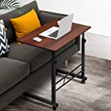 Portable Adjustable Mobile Wooden Laptop Study Desk Sofa Bed Side Table Stand Dark Wood Grain