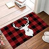 Christmas Winter Deer Buffalo Plaid Doormat Non Slip Indoor/Outdoor/Front Door/Bathroom Entrance Mats Rugs Carpet(Red)