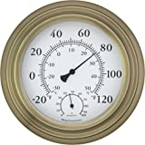 "Bjerg Instruments Antique Brass 8"" Decorative Indoor/Outdoor Thermometer and Hygrometer"