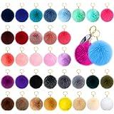 36 pcs Faux Fox Fur Pom Pom Keychain Fluffy Puff Ball Keychain Bulk Diy for Girls Women with Elastic Loop