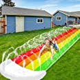 14Ft Lawn Water Slide Rainbow Silp Slide with Spraying and Inflatable Crash Pad for Children Play Center Pool Games Outdoor P