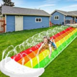 14Ft Lawn Water Slides, Rainbow Silp Slide with Spraying and Inflatable Crash Pad for Kids Boys Girls Children Lawn Garden Ba