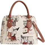 Signare Women's Tapestry Convertible Top Handle Handbag with Detachable Strap to Convert to Shoulder Bag with Westie, Scottie
