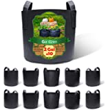 Gardzen 10-Pack 2 Gallon Grow Bags, Aeration Fabric Pots with Handles