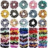 65Pcs Hair Scrunchies Velvet,Chiffon and Satin Elastic Hair Bands Scrunchie Bobbles Soft Hair Ties Ropes Ponytail Holder Hair