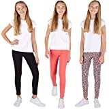 LEE 3 Pack Leggings for Girls | A Stylish Mix of Solid Color or Prints, Super Soft Pull on Leggings for All Day Comfort