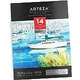 ARTEZA 9X12 Watercolor Pad, 14 Sheets (140Lb/300Gsm), Cotton, Cold-Pressed, Acid-Free Paper, Ideal for Watercolor Techniques