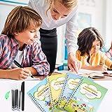 4PCS Reusable Magic Practice Copybook - Handwriting Workbook with Drawing Pens for Preschoolers, Writing Practice Book Set fo