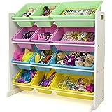 (White/Pastel) - TOT Tutors Toy Organiser Storage Bins, Pastel