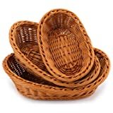 Yarlung 3 Pack Imitation Rattan Oval Woven Basket, Poly-Wicker Food Breads Fruit Vegetables Serving Display Basket for Home K